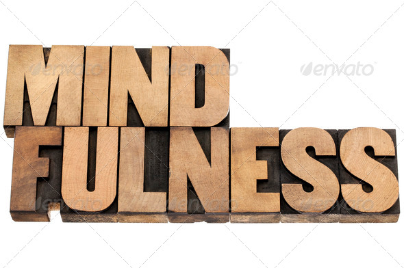 mindfulness word in wood type - Stock Photo - Images