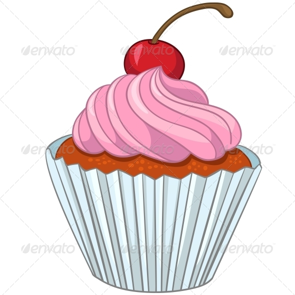 GraphicRiver Cartoon Food Sweet Cupcake 4970435