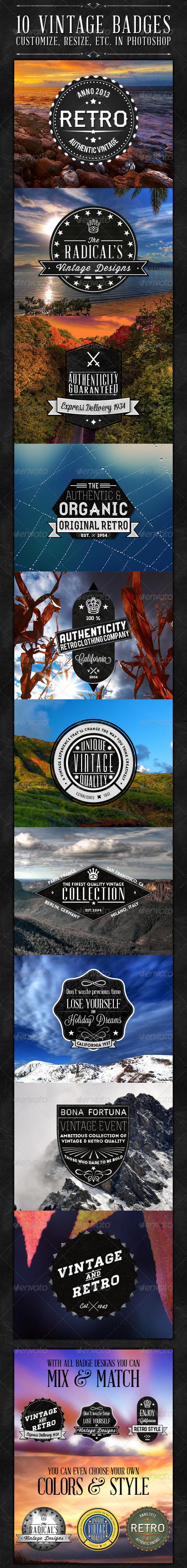 GraphicRiver 10 Vintage Badges 4913382