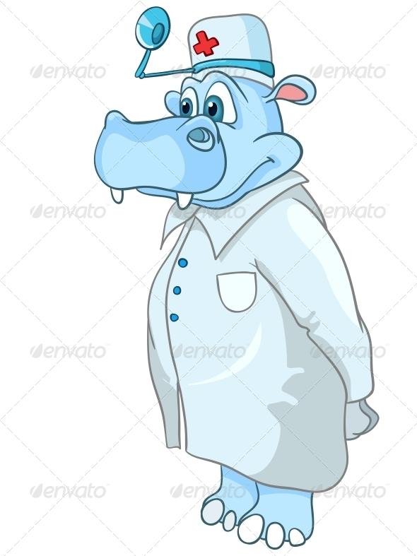 GraphicRiver Cartoon Character Hippopotamus Doctor 4970845