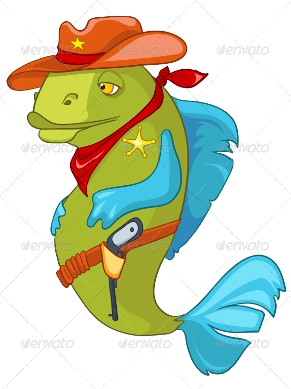 GraphicRiver Cartoon Character Fish Sheriff 4970972