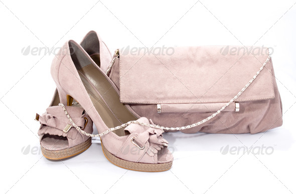 Pink shoes with pink bag - Stock Photo - Images
