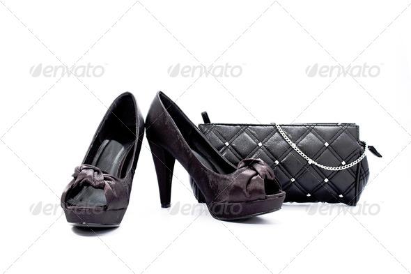 Black shoes- black handbag - Stock Photo - Images
