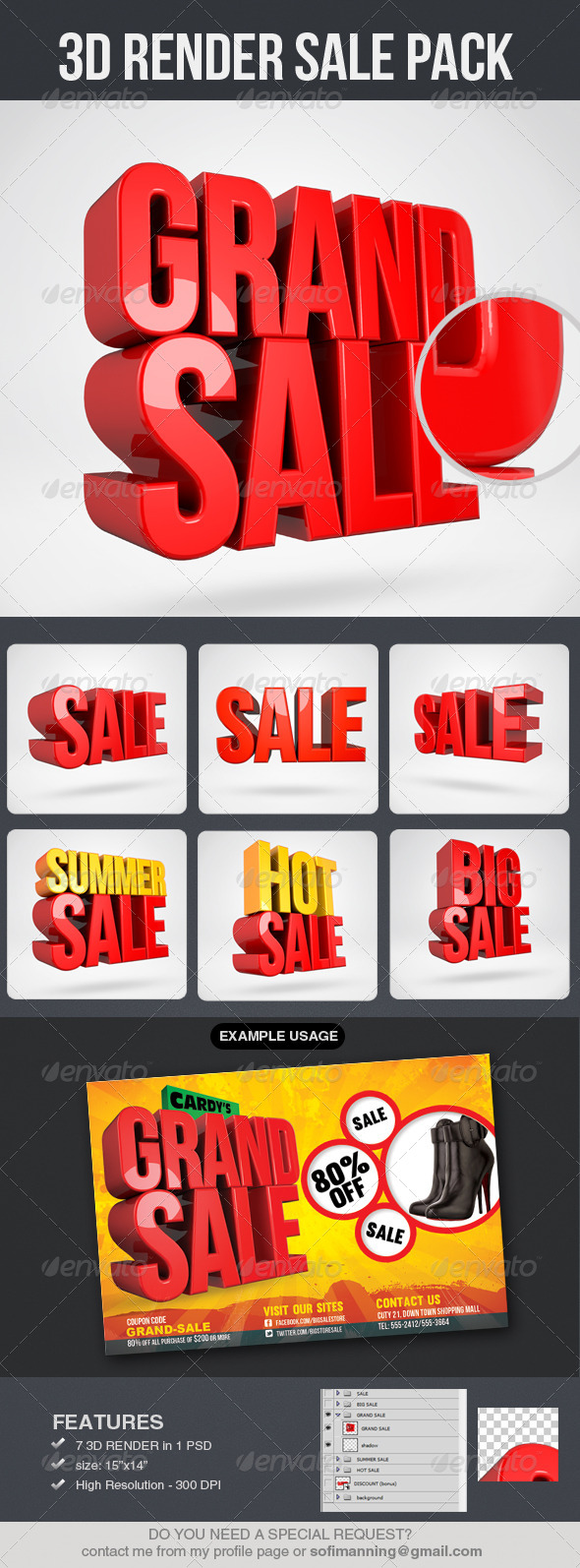 GraphicRiver 3D Render Sale Pack 4971412