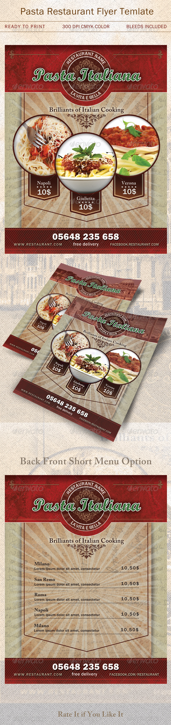 GraphicRiver Pasta Restaurant Flyer Template 4971450