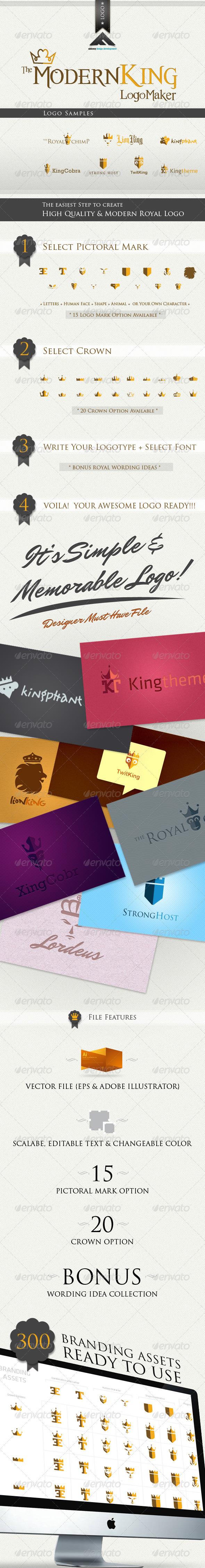 GraphicRiver Modern King Logo Kit 512427
