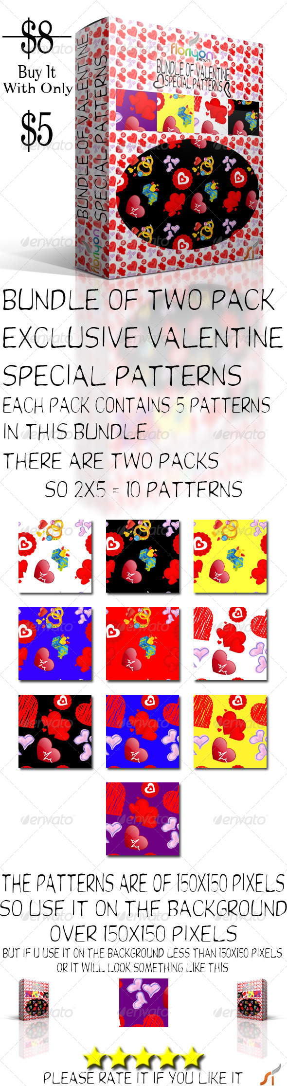 GraphicRiver Bundle Of Valentine Special Patterns 4949224