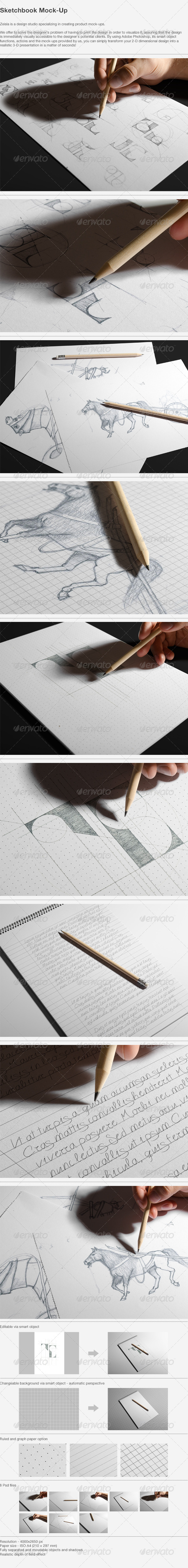 GraphicRiver Sketchbook Mock-Up 4972644