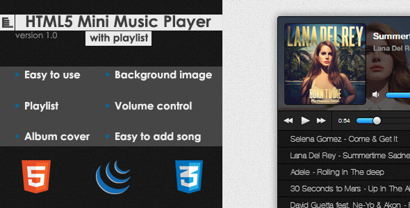 CodeCanyon HTML5 Mini Music Player With Playlist 4973212