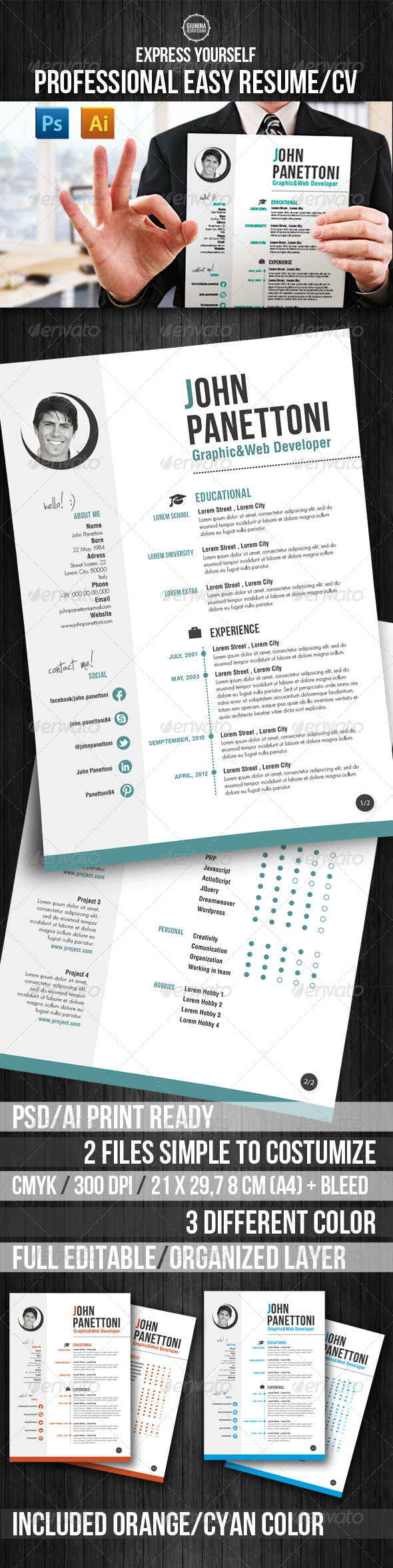 GraphicRiver Professional Easy Resume CV 4915992