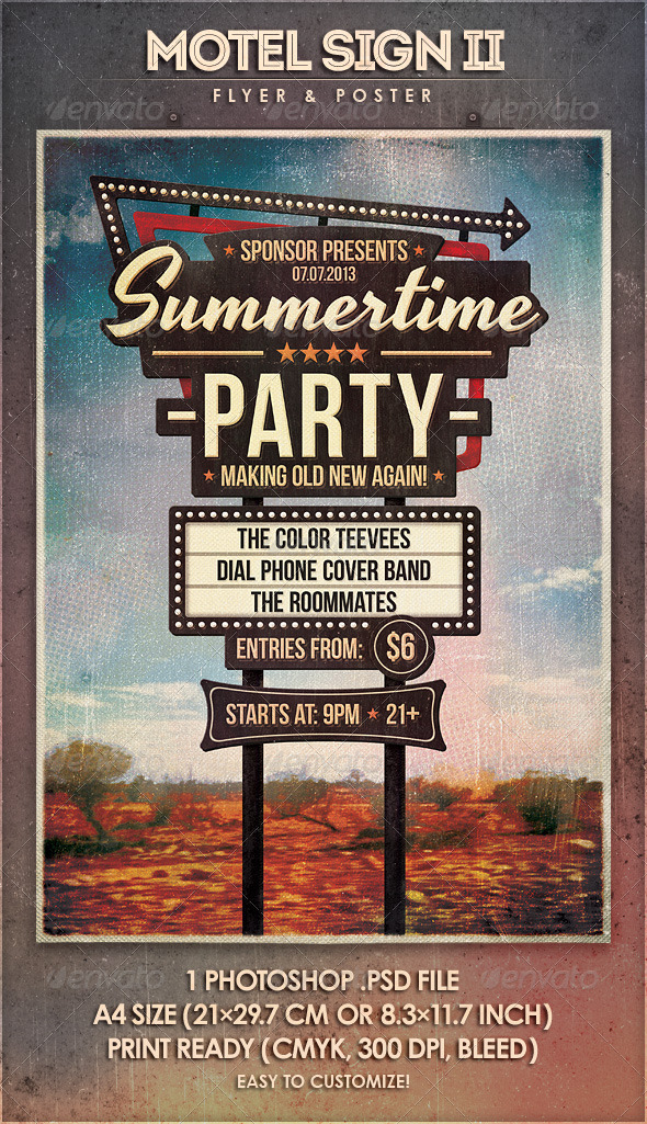 GraphicRiver Motel Sign II Flyer & Poster 4974244