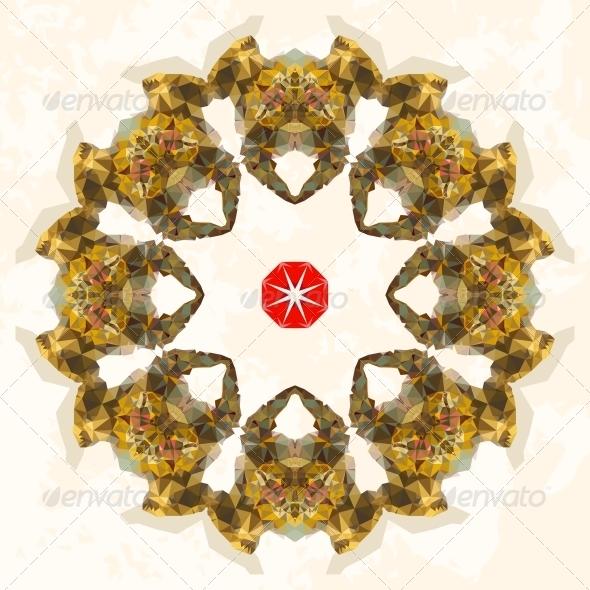 GraphicRiver Ornamental Round Lace Triangles Ornament 4974582