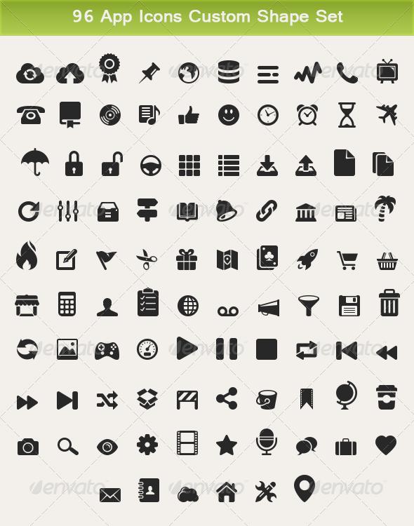 GraphicRiver 96 App Icons Custom Shape Set 4959039
