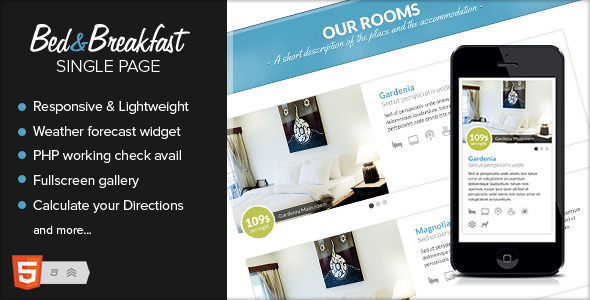 ThemeForest Bed&Breakfast Responsive Single Page 4832335