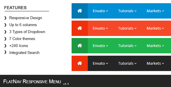 FlatNav Responsive Menu - Article WorldWideScripts.net en venda