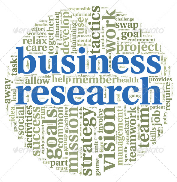 Business research concept in word tag cloud - Stock Photo - Images