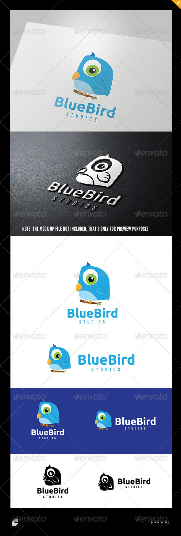 GraphicRiver Blue Bird Logo 4976038