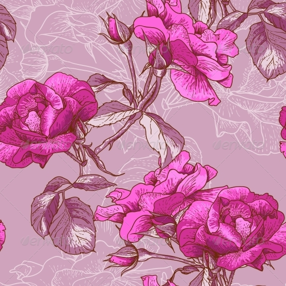 GraphicRiver Seamless Rose Background 4976171