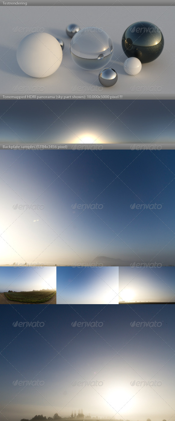 HDRI spherical sky panorama 0821- misty dawn sun