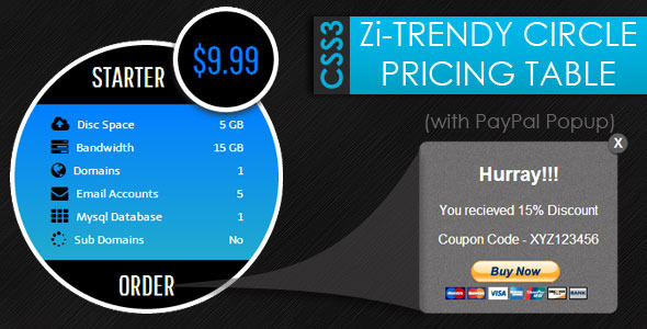 CSS3 Zi-Trendy Cirlce Pricing Tables + Paypal Popu - CodeCanyon Item for Sale