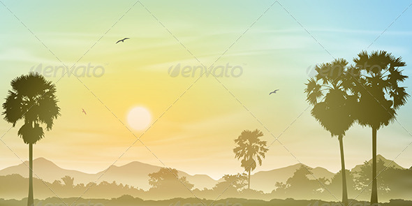 GraphicRiver Palm Tree Landscape 4977723