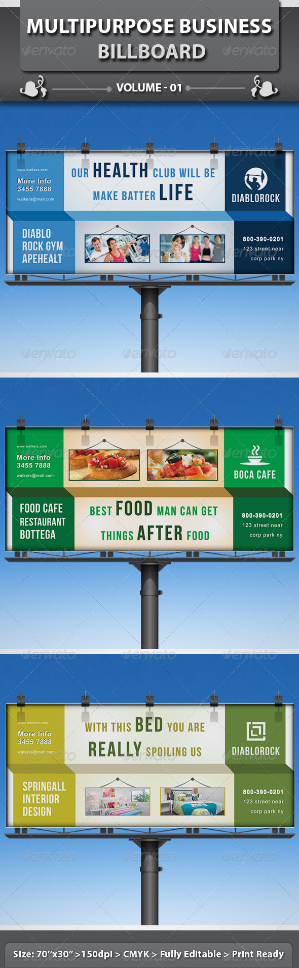 Multipurpose Business Billboard | Volume 1 - Signage Print Templates