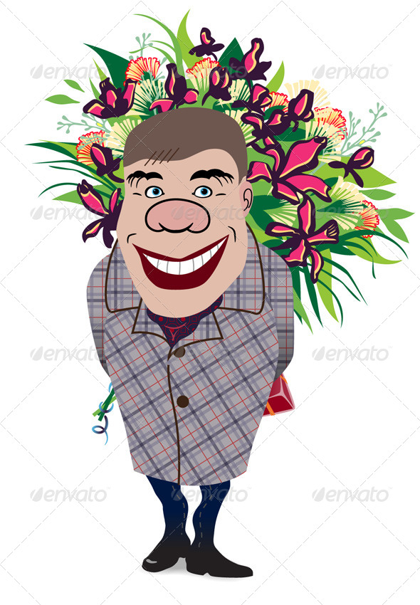 GraphicRiver Smiling Romantic Man Giving Flowers 4948260