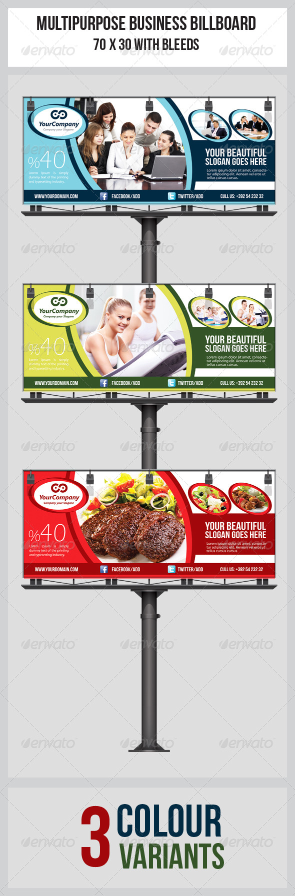 Multipurpose Business Billboard Template - Signage Print Templates