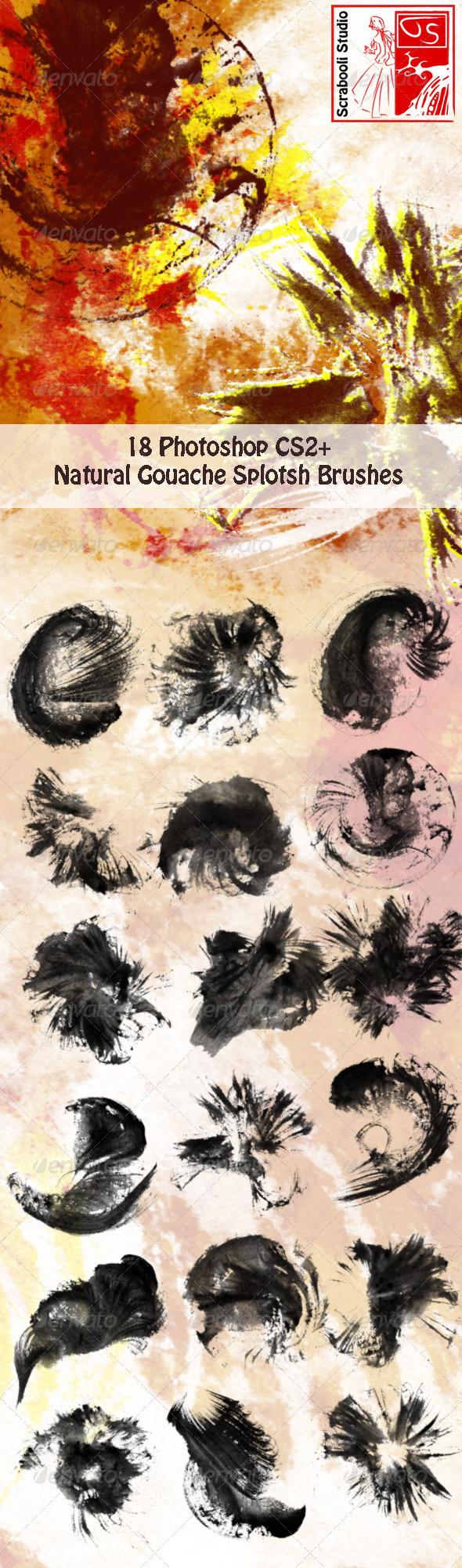 GraphicRiver 18 Gouache Splotch Brushes 4980319