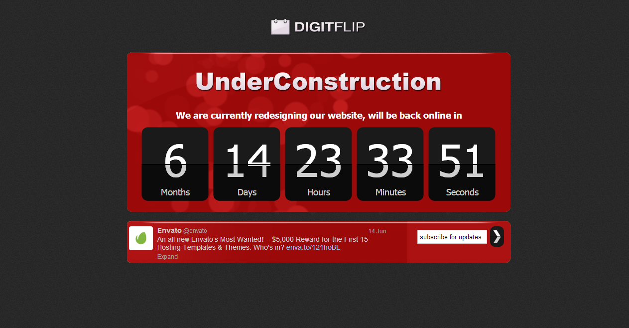 DigitFlip, UnderConstruction with twitter