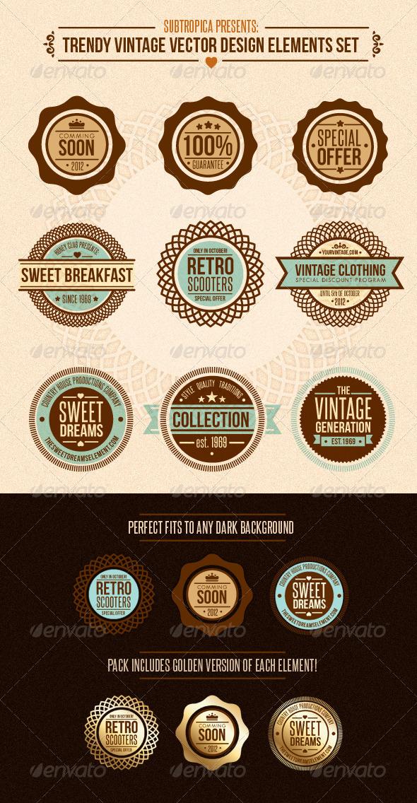 GraphicRiver Trendy Vintage Vector Design Elements Set 513402