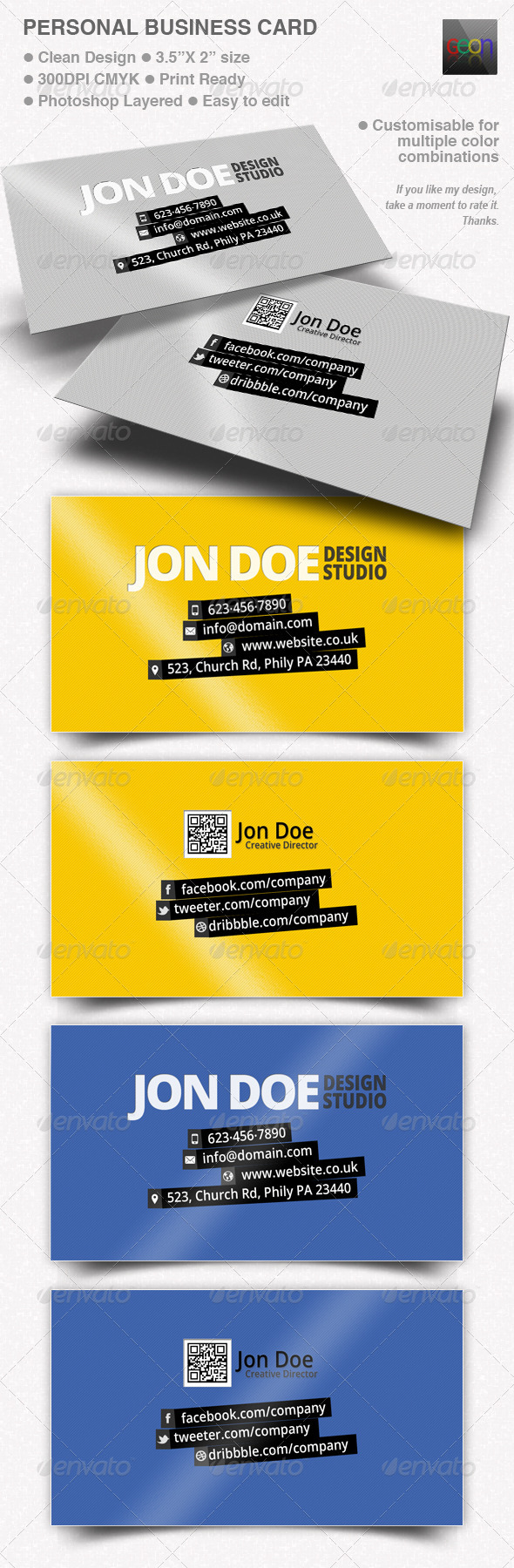 GraphicRiver Personal Business Card Black & Grey 4850991