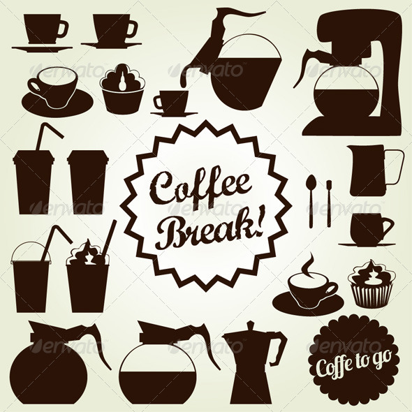 GraphicRiver Coffee Set Vector Icon Collection 4981040