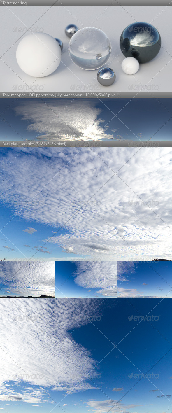 HDRI spherical sky panorama -1548- blue sky clouds - 3DOcean Item for Sale