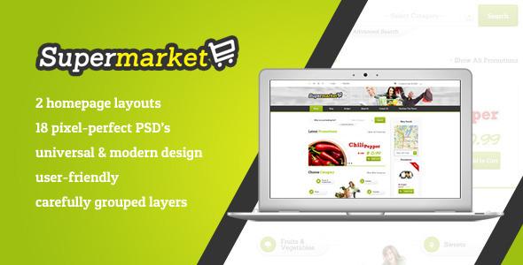 ThemeForest SUPERMARKET e-Shope PSD Template 4981284