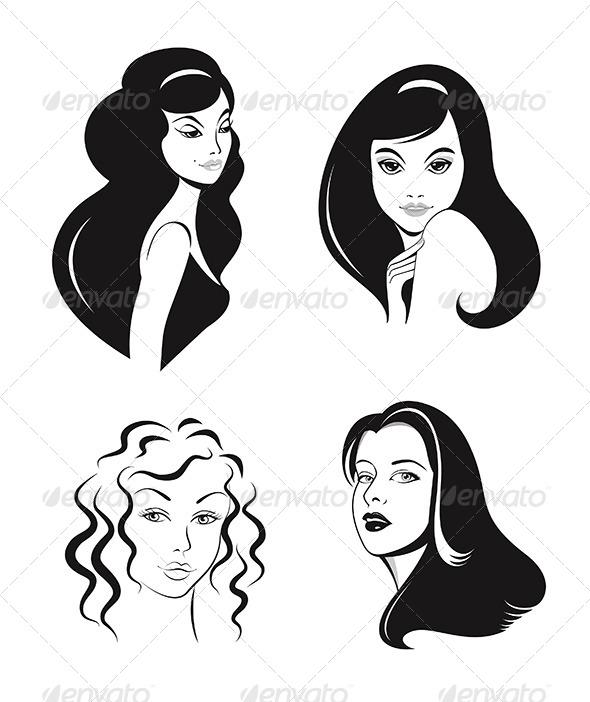 GraphicRiver Woman Faces Vector Set 4981968