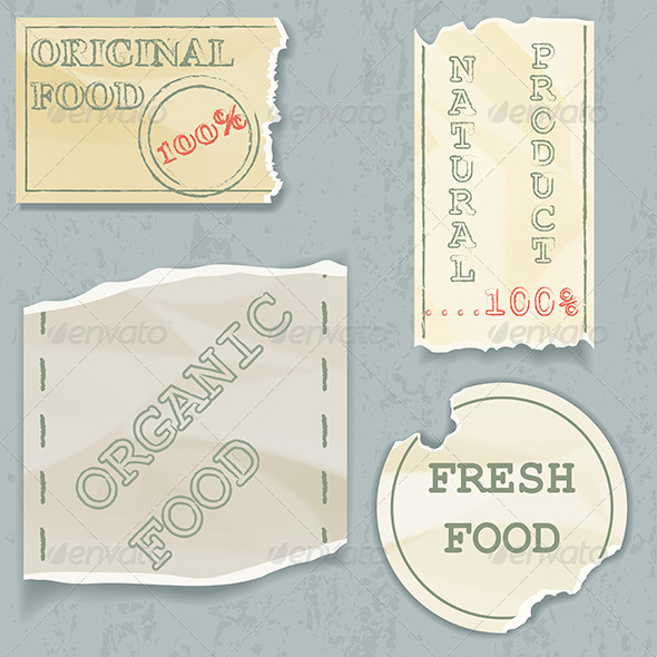 GraphicRiver Labels of Natural Food on Scraps of the Old Paper 4982008