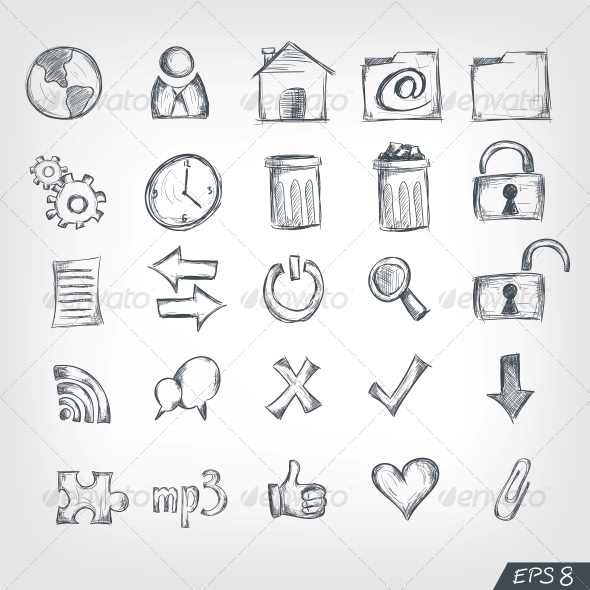GraphicRiver Sketch Icon Set 4983214