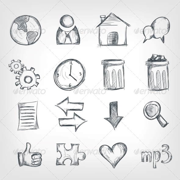 GraphicRiver Sketch Icon Set 4983223
