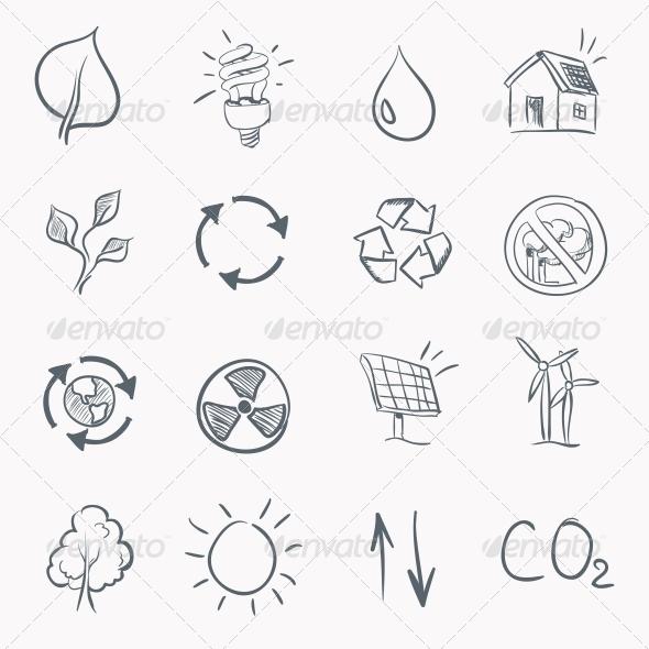 GraphicRiver Eco Sketch Icon Set 4983302