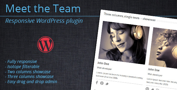 Meet the Team – WordPress Plugin Meet the Team is a WordPress plugin that allows you to easily create and manage teams. You can display single teams as tw