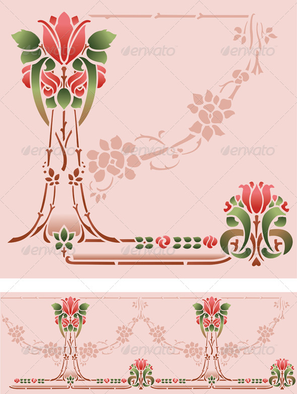 GraphicRiver Rose Stencil Border 4984237