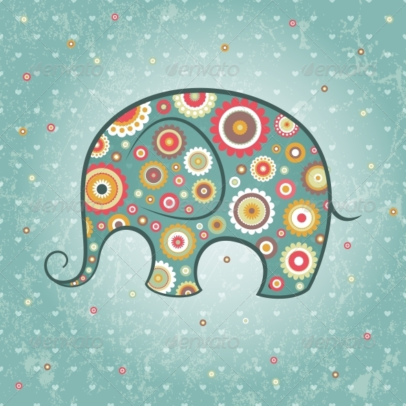 GraphicRiver Floral Vector Elephant 4984619
