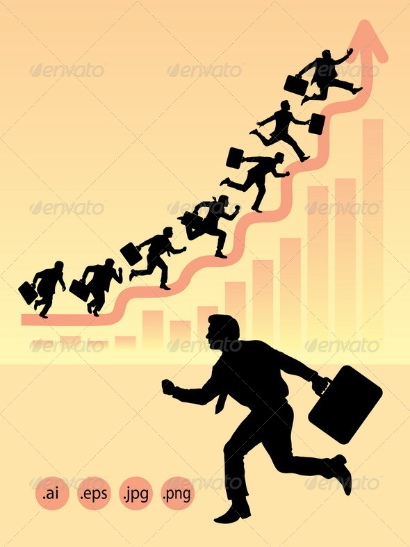 GraphicRiver Businessman Running Silhouettes 4985286