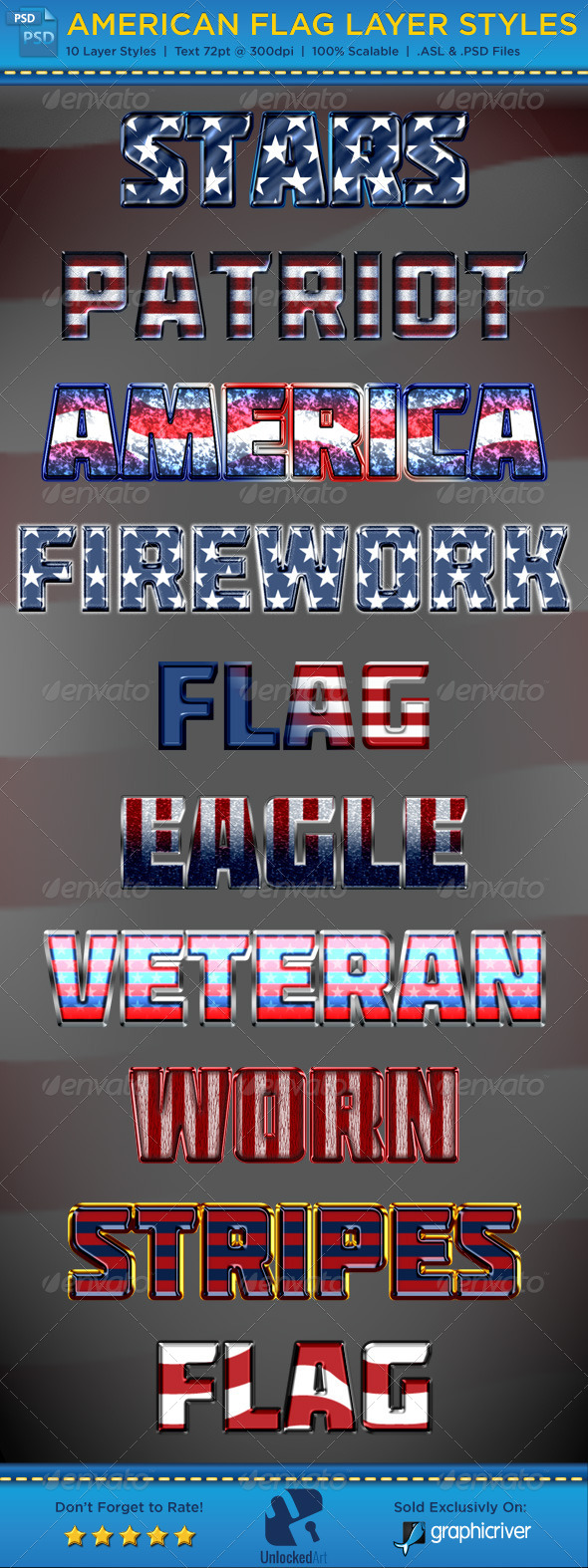 American Flag Layer Styles - Text Effects Styles