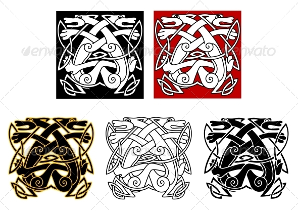 GraphicRiver Tribal Wolves in Celtic Style 4986092
