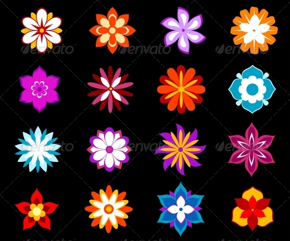 GraphicRiver Set of Colorful Flowers and Blossoms 4986095