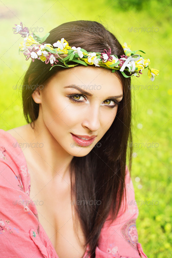 Portrait of gorgeous woman in summer - Stock Photo - Images
