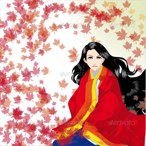 GraphicRiver The Girl in a Kimono 4986917
