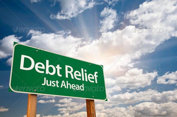 PhotoDune Debt Relief Green Road Sign 514204